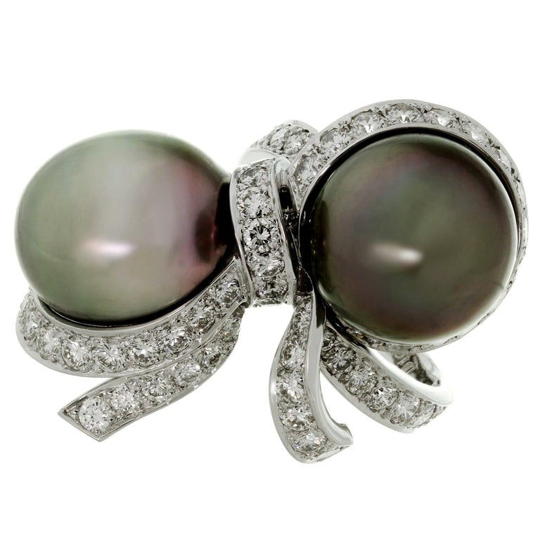 Christian Dior Diamond Tahitian Pearl White Gold Caprice Ring For Sale