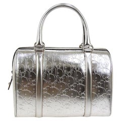 "Christian Dior ""Dior"" Logo Silver Leather Top Handle Satchel Speedy Bag"
