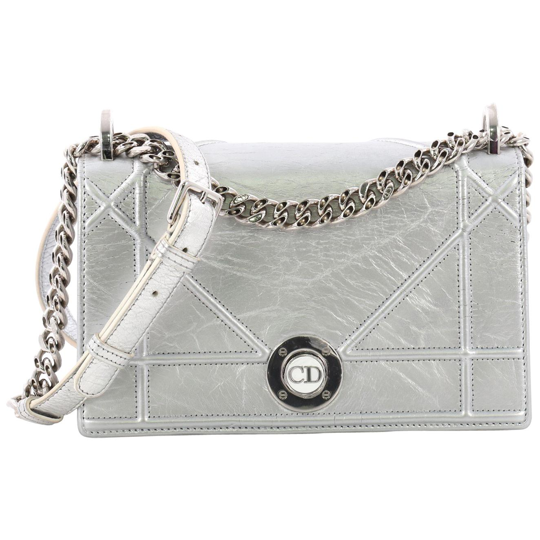 b226e0b6fea Christian Dior Diorama Clasp Flap Bag Crinkled Lambskin Medium at 1stdibs