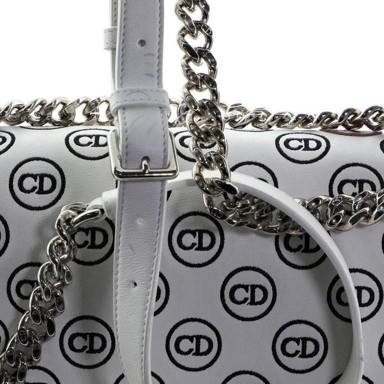 Christian Dior Diorama Clasp Flap Bag Embroidered Leather Medium For Sale 3