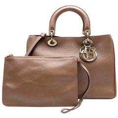 Christian Dior Diorissimo Bronze Medium Pebbled Leather Bag