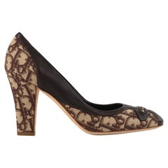 CHRISTIAN DIOR Diorissimo Brown Monogram Canvas Leather Rounded Toe Heels Pumps