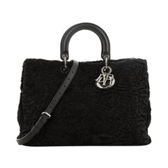 Christian Dior Diorissimo Tote Embroidered Astrakhan Fur Large