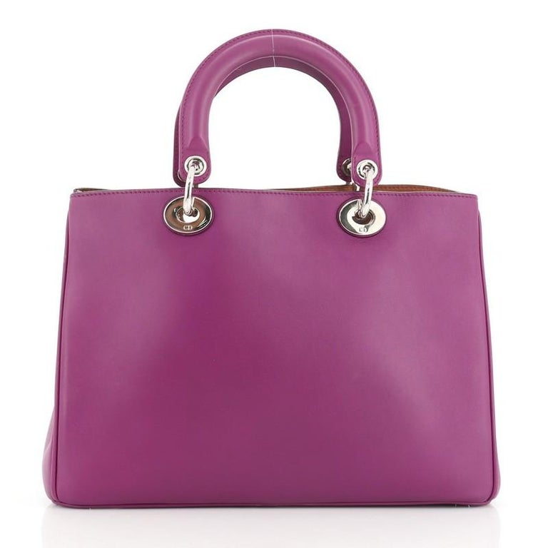 Christian Dior Diorissimo Tote Pebbled Leather Medium In Good Condition For Sale In New York, NY