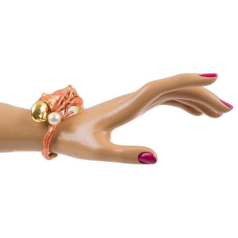 Christian Dior Dune 1987 Coral Branch Clamper Bracelet  For Sale 9