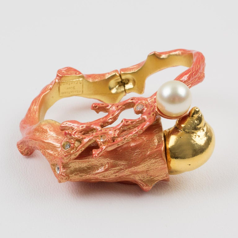 Christian Dior Dune 1987 Coral Branch Clamper Bracelet  In Excellent Condition For Sale In Atlanta, GA