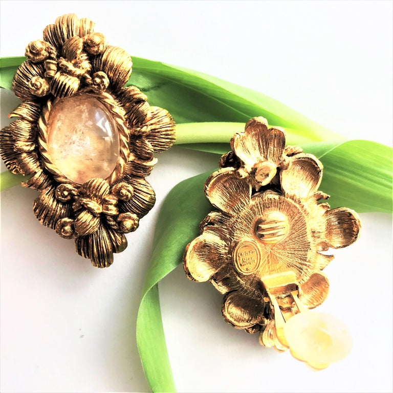 CHRISTIAN DIOR ear clips gold plated 2000s For Sale 5