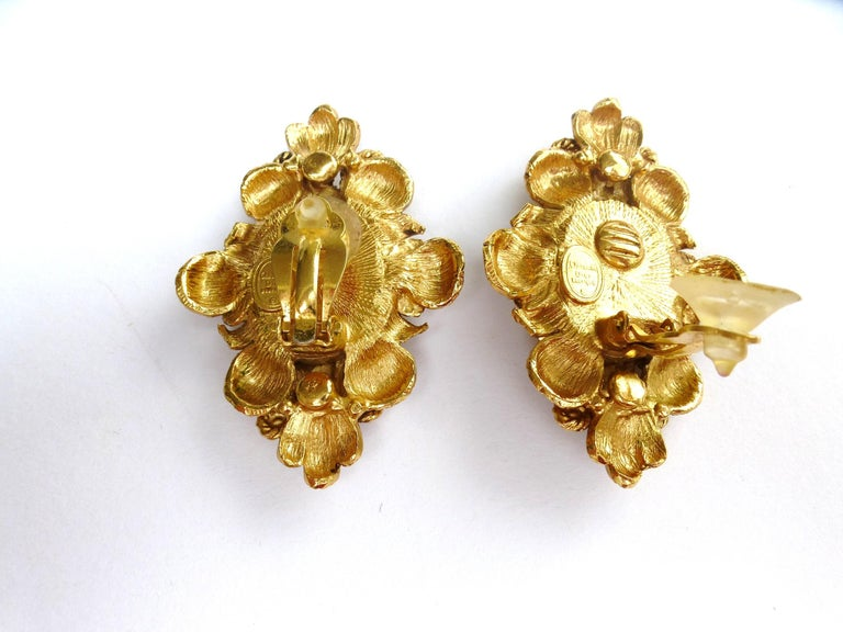 CHRISTIAN DIOR ear clips gold plated 2000s For Sale 1