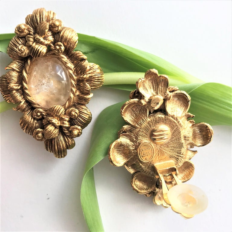 CHRISTIAN DIOR ear clips gold plated 2000s For Sale 3