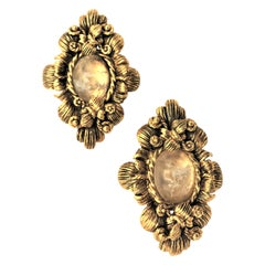 CHRISTIAN DIOR ear clips gold plated 2000s