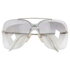 Christian Dior Early 2000's Clear Silver Motard Shield Sunglasses