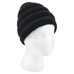 CHRISTIAN DIOR Early c.1960's Couture Black Crochet Knit Layered Cap Hat