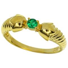 Christian Dior Emerald 18 Karat Yellow Gold Ring