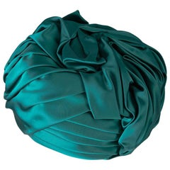Christian Dior Emerald Green Silk Satin Turban Hat, 1960s