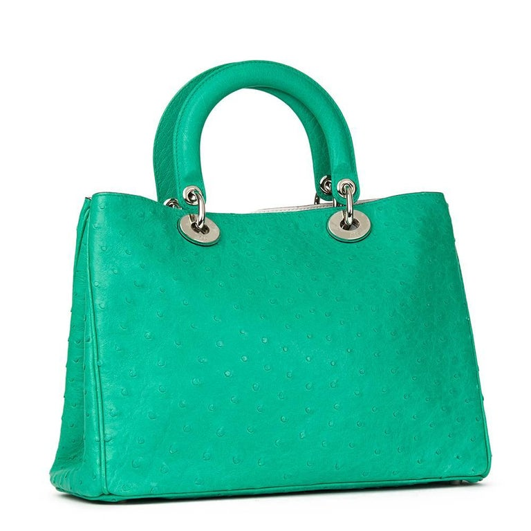 Blue 2013 Christian Dior Emerald Ostrich Leather Diorissimo MM  For Sale