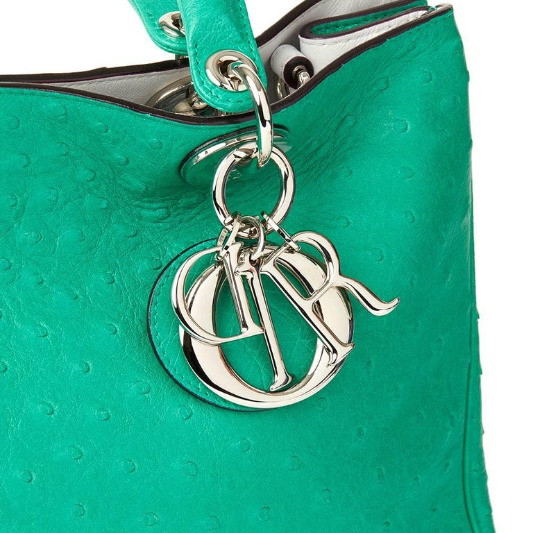 Women's 2013 Christian Dior Emerald Ostrich Leather Diorissimo MM  For Sale
