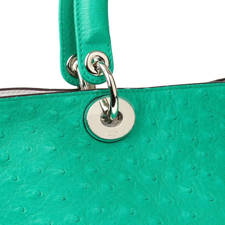 2013 Christian Dior Emerald Ostrich Leather Diorissimo MM  For Sale 1