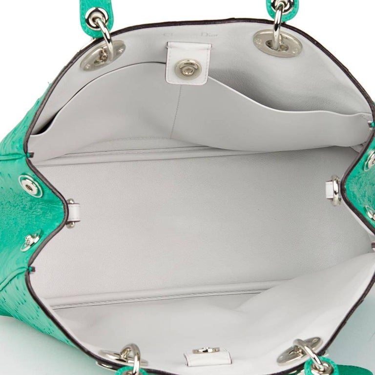 2013 Christian Dior Emerald Ostrich Leather Diorissimo MM  For Sale 3
