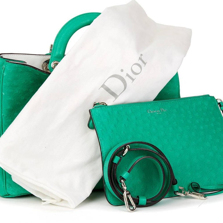 2013 Christian Dior Emerald Ostrich Leather Diorissimo MM  For Sale 4