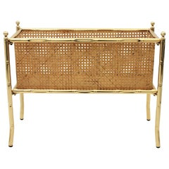 Christian Dior Faux Bamboo Magazine Stand or Planter, Brass and Rattan