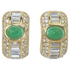 Christian Dior Faux Emerald & Rhinestone Earrings, 1980's