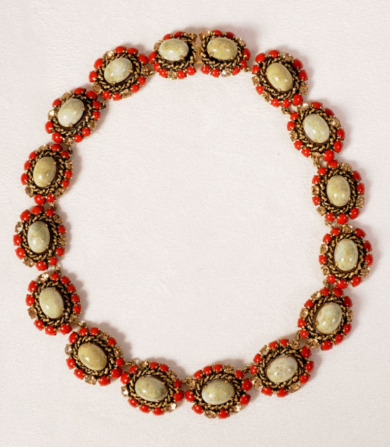A striking combination of stones is used in this 1964 necklace from Christian Dior, Paris. Large cabochon