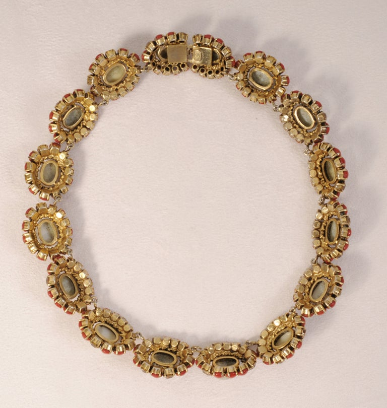 Women's Christian Dior Faux Jade, Coral and Yellow Diamond Necklace Dated 1964 For Sale