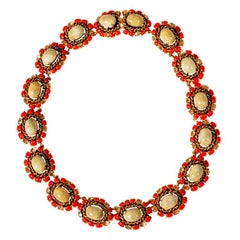 Christian Dior Faux Jade, Coral and Yellow Diamond Necklace Dated 1964