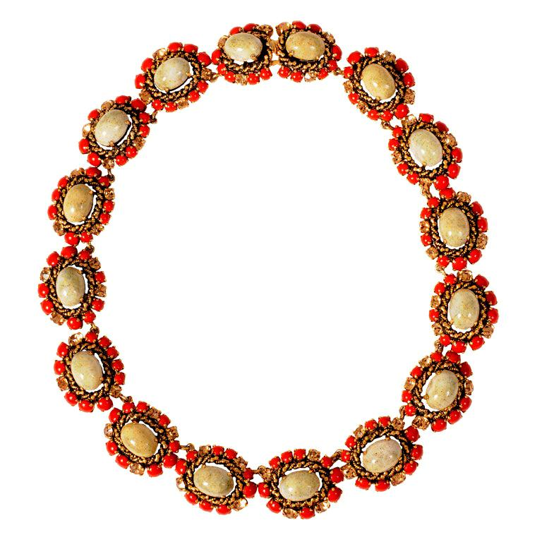 Christian Dior Faux Jade, Coral and Yellow Diamond Necklace Dated 1964 For Sale
