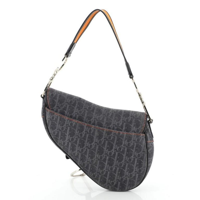 Christian Dior Flight Saddle Bag Diorissimo Denim Medium In Good Condition In New York, NY