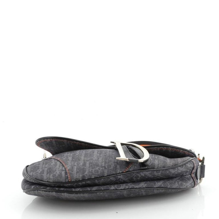 Women's or Men's Christian Dior Flight Saddle Bag Diorissimo Denim Medium