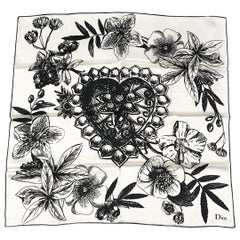 Christian Dior Floral Illustration Silk Scarf