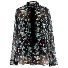 Christian Dior Floral Print Sheer Ruffle Trim Blouse - Size US 6