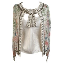 Christian Dior Floral Silk Embellished Layered Top Blouse Size S