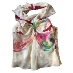 Christian Dior Floral Silk Halter Bustier Top Size XS