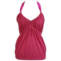Christian Dior Fuchsia Pink Cotton Halterneck Top Size 42 IT