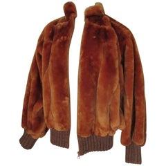 Christian Dior Fur Orange Bomber Jacket