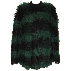 Christian Dior FW 2019 Black and Green Mohair Jacket