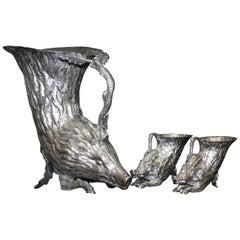 Christian Dior, Gabriella Crespi Silver Plated Rhyton Pitcher Jug & Stirrup Cups