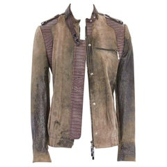 CHRISTIAN DIOR GALLIANO croc trim distressed coat leather jacket FR36 US4 UK8 S