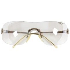 Christian Dior Galliano Early 2000's Clear Silver Piercing Shield Sunglasses
