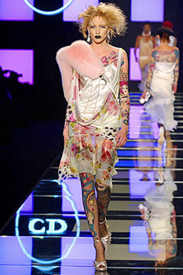 Rare Christian Dior S/S 2004 20's inspired silk chiffon flapper dress by John Galliano.  Includes tattoo body suit with matching footless leggings.  Identical to the runway photo.  Delicate feminine 20's style flapper dress is bias cut and fashioned