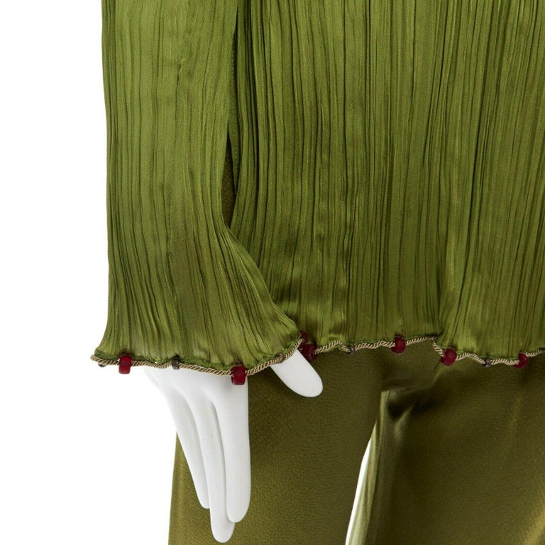 CHRISTIAN DIOR GALLIANO SS99 Mao green beaded pleated silk pant suit FR38 M For Sale 5