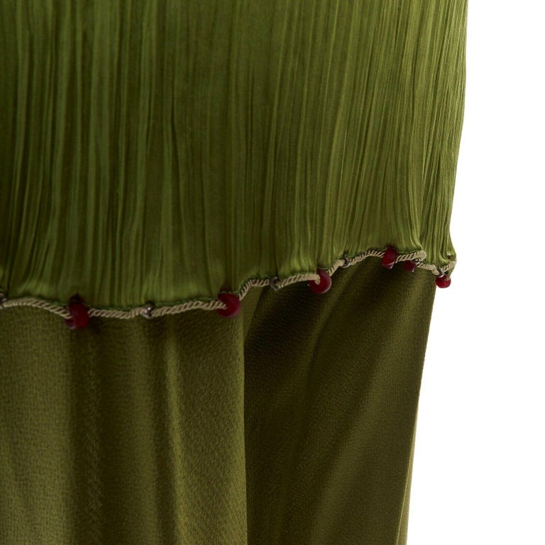 CHRISTIAN DIOR GALLIANO SS99 Mao green beaded pleated silk pant suit FR38 M For Sale 6