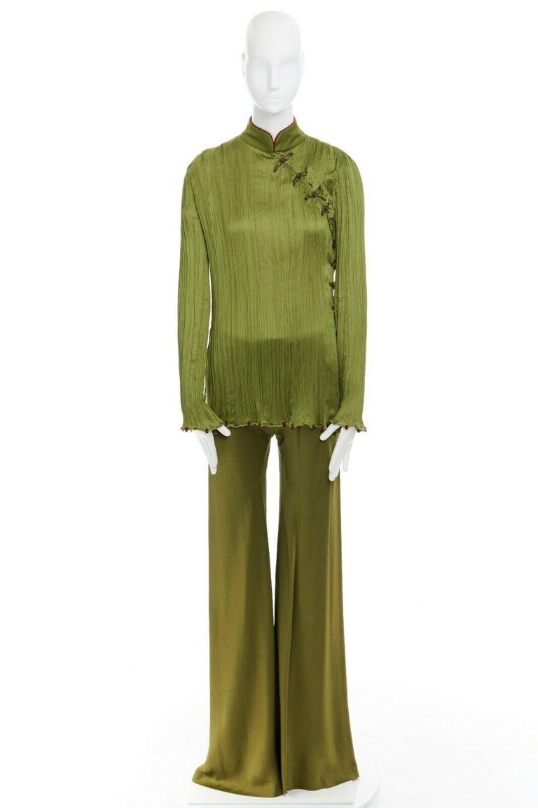 Brown CHRISTIAN DIOR GALLIANO SS99 Mao green beaded pleated silk pant suit FR38 M For Sale