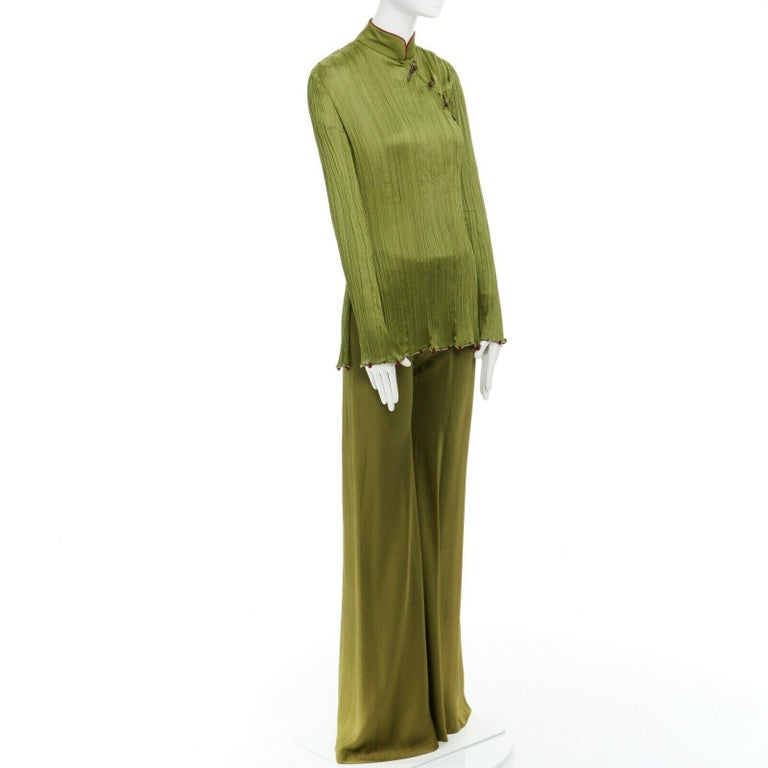 CHRISTIAN DIOR GALLIANO SS99 Mao green beaded pleated silk pant suit FR38 M In Excellent Condition For Sale In Hong Kong, NT