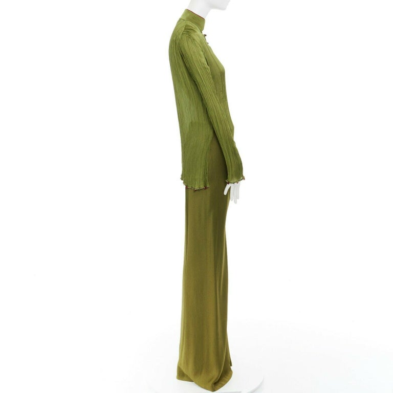 Women's CHRISTIAN DIOR GALLIANO SS99 Mao green beaded pleated silk pant suit FR38 M For Sale