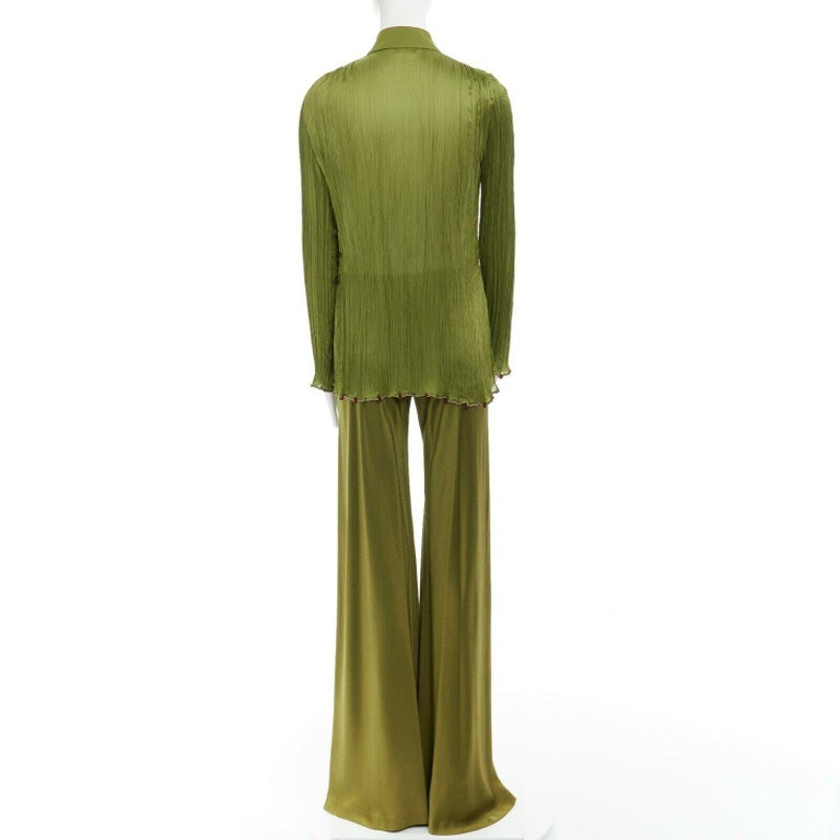 CHRISTIAN DIOR GALLIANO SS99 Mao green beaded pleated silk pant suit FR38 M For Sale 1
