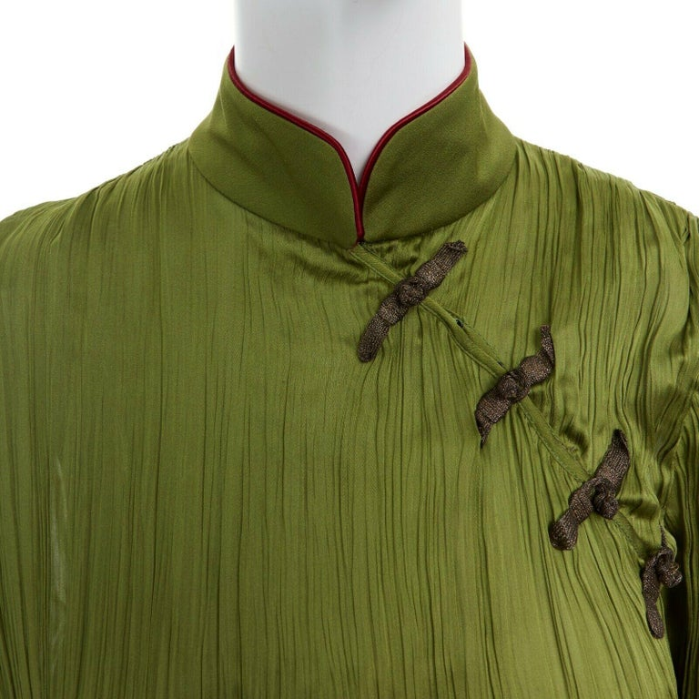 CHRISTIAN DIOR GALLIANO SS99 Mao green beaded pleated silk pant suit FR38 M For Sale 2