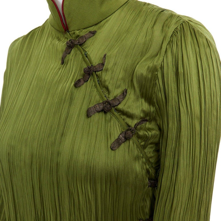 CHRISTIAN DIOR GALLIANO SS99 Mao green beaded pleated silk pant suit FR38 M For Sale 3